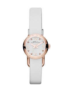 Marc by Marc Jacobs - Rose Goldtone Stainless Steel & Leather Watch/White
