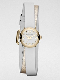 Marc by Marc Jacobs - Goldtone Stainless Steel & Double Wrap Leather Watch/White