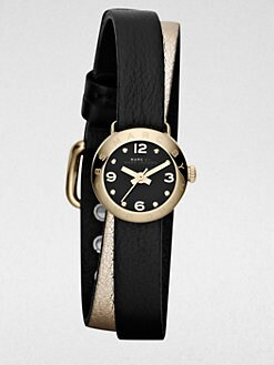 Marc by Marc Jacobs - Goldtone Stainless Steel & Double Wrap Leather Watch/Black