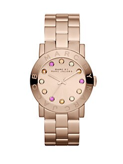 Marc by Marc Jacobs - Rose Goldtone Stainless Steel & Multicolored Crytal Watch