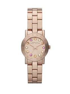 Marc by Marc Jacobs - Rose Goldtone Stainless Steel & Multicolored Crytal Watch/26MM