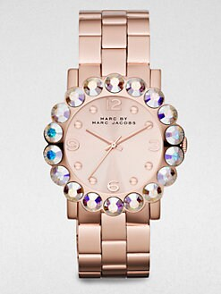 Marc by Marc Jacobs - Large Crystal & Rose Goldtone Stainless Steel Watch