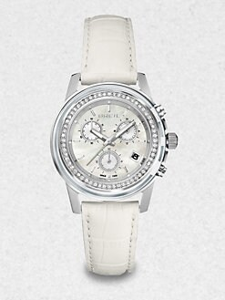 Breil - Swarovski Crystal, Leather & Stainless Steel Chronograph Watch