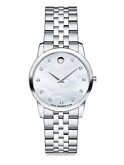 Movado - Diamond & Stainless Steel Watch