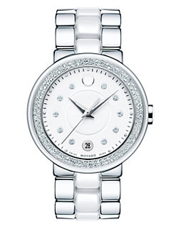 Movado - Diamond, Stainless Steel & Ceramic Watch