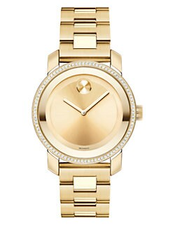 Movado - Diamond & Goldtone IP Stainless Steel Watch