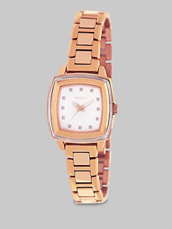 Breil - Swarovski Crystal Accented Square Rose Goldtone IP Stainless Steel Watch