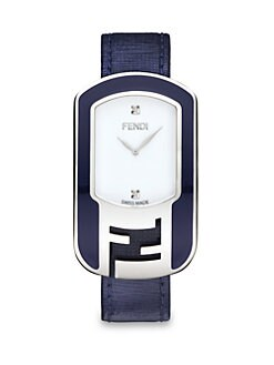 Fendi - Stainless Steel & Diamond Watch/Blue