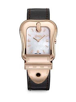 Fendi - Diamond-Accented Rose Goldtone Strap Watch