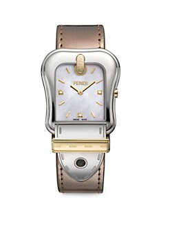 Fendi - Diamond-Accented Stainless Steel Strap Watch