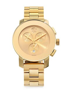 Movado - Goldtone IP Stainless Steel Chronograph Watch