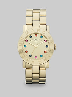 Marc by Marc Jacobs - Multicolored Stone Accented Goldtone IP Stainless Steel Watch/36MM