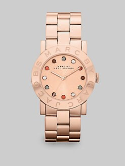Marc by Marc Jacobs - Multicolored Stone Accented Rose Goldtone IP Stainless Steel Watch/36MM