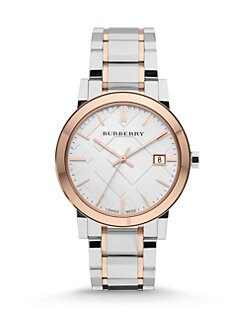 Burberry - Two-Tone Stainless Steel Check Watch