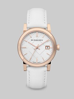 Burberry - Check Stamped Ion-Plated Rose Goldtone Stainless Steel Watch