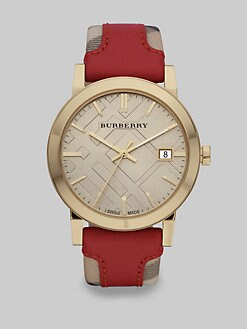 Burberry - Leather Accented Haymarket Check Goldtone Stainless Steel Watch/Red