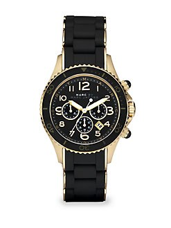 Marc by Marc Jacobs - Silicone & Rose Goldtone IP Stainless Steel Chronograph Watch/Black