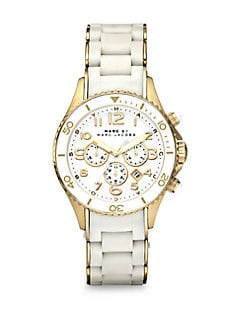 Marc by Marc Jacobs - Silicone & Rose Goldtone IP Stainless Steel Chronograph Watch/White