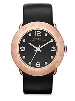 Marc by Marc Jacobs - Rose Goldtone Stainless Steel Watch/Black
