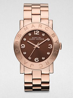 Marc by Marc Jacobs - Rose Goldtone Goldtone Stainless Steel Watch/Brown Dial