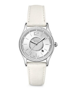 Breil - Stainless Steel Sparkle-Edged Leather Strap Watch
