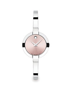 Movado - Stainless Steel Bangle Watch/Pink