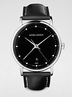 Georg Jensen - Stainless Steel & Leather Watch