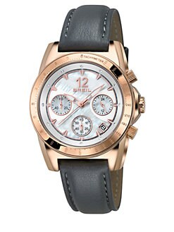 Breil - Enclosure Rose Goldtone IP Stainless Steel, Crystal & Leather Chronograph Strap Watch