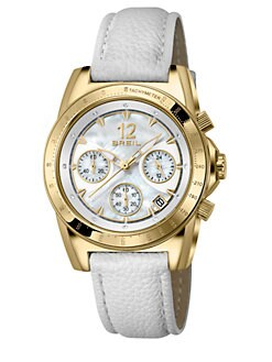 Breil - Enclosure Goldtone IP Stainless Steel, Crystal & Leather Chronograph Strap Watch
