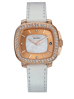 Breil - Capital Rose Goldtone Stainless Steel, Crystal & Leather Strap Watch