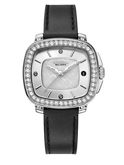 Breil - Capital Stainless Steel, Crystal & Leather Strap Watch