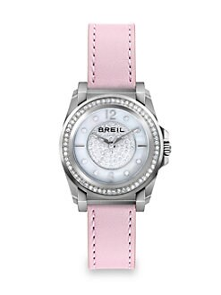 Breil - Manta Stainless Steel, Crystal, Mother-of-Pearl & Leather Strap Watch