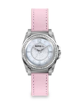Manta Crystal, Mother-Of-Pearl, Stainless Steel & Leather Strap Watch