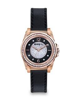 Breil - Manta Rose Goldtone IP Stainless Steel, Crystal & Leather Strap Watch