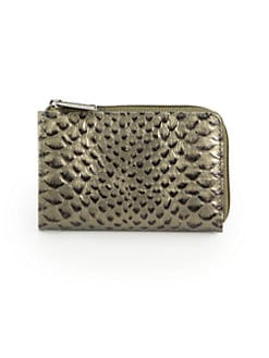 BLACK Saks Fifth Avenue - Python-Embossed Leather Coin Wallet