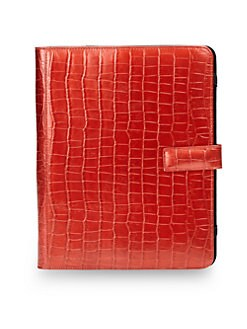 BLACK Saks Fifth Avenue - Croc-Embossed Case for iPad