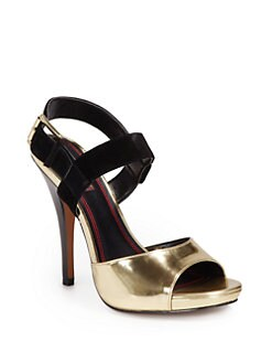 5/48 - Judyann Colorblock Platform Sandals/Gold & Black