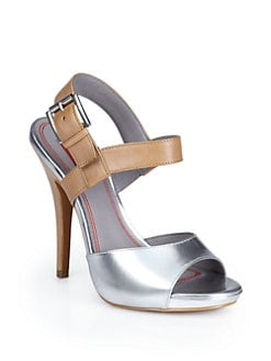 5/48 - Judyann Colorblock Platform Sandals/Silver & Natural