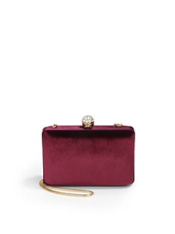 BLACK Saks Fifth Avenue - Isabel Velvet Miniaudiere/Wine