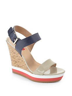 RED Saks Fifth Avenue - Dana Colorblock Wedge Sandals/Blue & Taupe