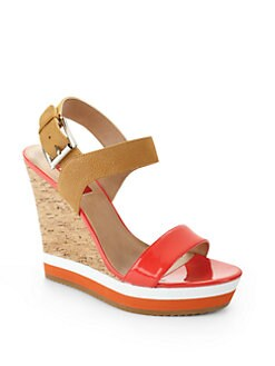 RED Saks Fifth Avenue - Dana Colorblock Wedge Sandals/Coral & Beige