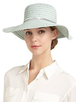 GRAY Saks Fifth Avenue - Sequin-Trimmed Straw Hat