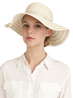 BLACK Saks Fifth Avenue - Striped Floppy Hat