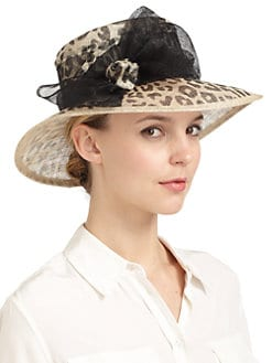 BLACK Saks Fifth Avenue - Sinaway Straw Leopard Print Bow Hat