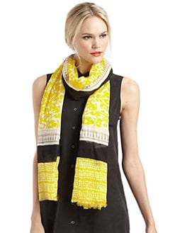 GRAY Saks Fifth Avenue - Mixed-Pattern Scarf/Yellow