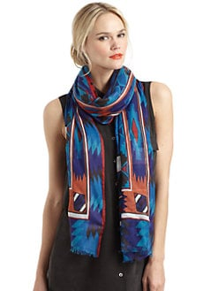 GRAY Saks Fifth Avenue - Aztec-Print Scarf/Blue