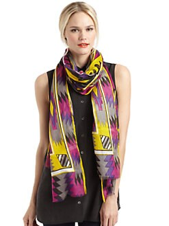 GRAY Saks Fifth Avenue - Aztec-Print Scarf/Fuchsia