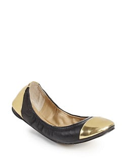 BLACK Saks Fifth Avenue - Randi Leather Cap Toe Ballet Flats