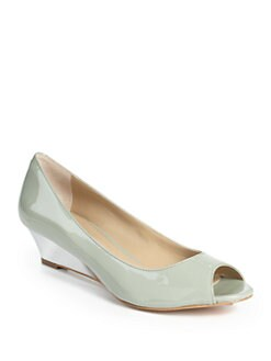 BLUE Saks Fifth Avenue - Clarissa Patent Leather Peep-Toe Wedges