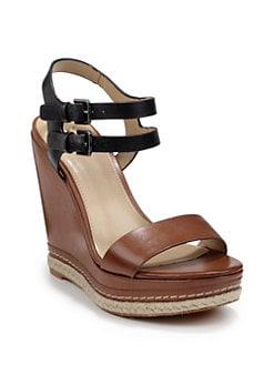 BLUE Saks Fifth Avenue - Georgia Leather Colorblock Platform Wedge Sandals